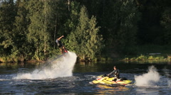 Fly board rider Stock Footage