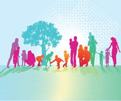 Colorful family in nature Stock Illustration