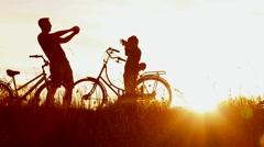 Family makes self portraits photos with cell phone in beautiful sunny landscape Stock Footage