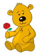 Teddy-bear with a rose flower Stock Illustration
