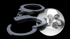 Handcuffs and diamonds symbolizing vice in love affairs Stock Illustration