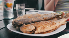 Seafood Cooked Fried Fish Trout on a Plate in a Restaurant Stock Footage