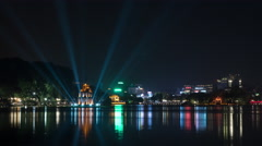 Timelapse of night Hanoi with colorful Hoan Kiem Lake Stock Footage