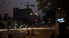 Time lapse shot of intersection at night, Hanoi, Vietnam Stock Footage