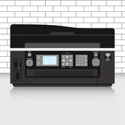 Multifunction printer in modern office with brick wall Stock Illustration