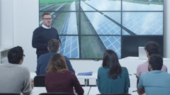 Group of Mixed Race Students During Renewable Energy Lecture in Classroom Stock Footage