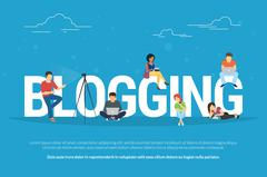 Blogging concept illustration of young people using laptop Stock Illustration