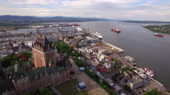 Aerial View of Chateau Frontenac and Old Port in Quebec City, Canada Stock Footage
