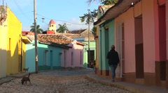 A beautiful shot of the buildings and cobblestone streets of Trinidad, Cuba. Stock Footage