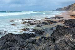 Castelejo beach (Algarve, Portugal). Stock Photos