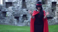 4k Halloween Shot of a Magician Gesturing with Hands, Abracadabra Stock Footage
