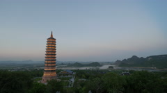Timelapse shot of evening coming to Bai Dinh Temple, Vietnam Stock Footage