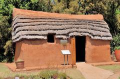 Hartebeest house built by early Europian settlers Stock Photos