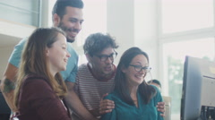 Group of Smiling and Laughing Mixed Race Students Working as Team Stock Footage