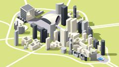 Vector Isometric low poly La Defense district map in Paris Stock Illustration