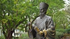 Statue of Father Matteo Ricci S.J. Macau, China. Video 4k Stock Footage