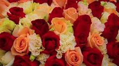 Closeup of a Colorful Rose Bouquet. Video 4k Stock Footage