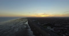 4K West Sussex High beach shot - Sunset - Drone Stock Footage