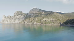 View of Blue bay and mount Karaul-Oba. Mountains in Crimea at Black sea Stock Footage