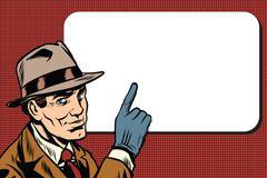 Male spy points a finger, retro background Stock Illustration