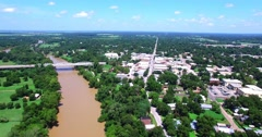 Aerial Footage Old Town Bastrop, TX Stock Footage