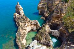 Atlantic rocky coastline (Ponta da Piedade, Lagos, Algarve, Portugal). Stock Photos