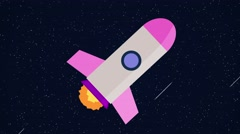 Animated cartoon rocket space ship pink Stock Footage
