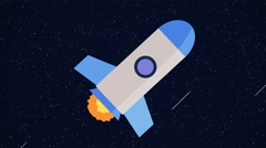 Animated cartoon rocket space ship blue Stock Footage
