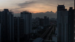 Time lapse shot of cityscape with skyscrapers, buildings and industrial smog Stock Footage