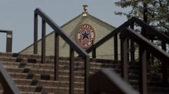 Newcastle brown ale beer logo on pub at top of steps in newcastle upon tyne uk Stock Footage