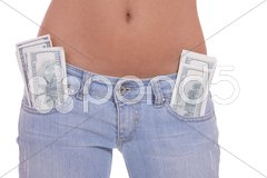 Young shirtless woman in tight jeans Stock Photos