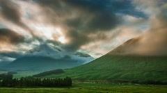 Beautiful foggy dawn over the mountains of Glencoe in Scotland, 4k, timelapse Stock Footage