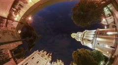 Rabbit Hole Planet 360 Degree Kyiv-Pechersk Lavra Night Cityscape Cathedral Stock Footage