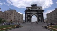 Standalone gate at middle of city road, empty Victory Square, panoramic shot Stock Footage