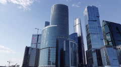 Tracking shot of Moscow City, shining group of blue high rise buildings Stock Footage