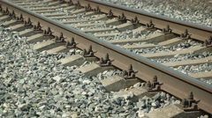 Railroad Tracks over a Coarse Gravel Bed. Video 4k Stock Footage