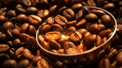 Blender Grinding Coffee Beans in Slow Motion Macro in Slow Motion Tabletop Stock Footage