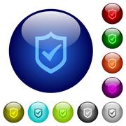Color active shield glass buttons Stock Illustration