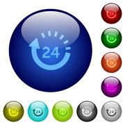 Color 24 hour delivery glass buttons Stock Illustration