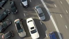 Aerial view of cameraman shooting driving cars Stock Footage