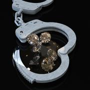 Handcuffs and diamonds symbolizing vice in love affairs 3d rendering Stock Illustration