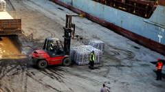 Forklift loading bags on truck port of arzew March 2016 Stock Footage