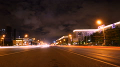 Time lapse night traffic and car lights Stock Footage