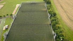 Empty football field aerial shot Stock Footage
