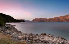 Lake Hawea located in the Otago Region of New Zealand Stock Photos