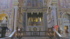 Interiors and architectural details of Archbasilica of Saint John Lateran Stock Footage