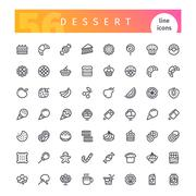 Dessert and Sweet Pastry Line Icons Set Stock Illustration