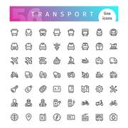 Transport Line Icons Set Stock Illustration
