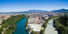 Panoramic Aerial view of Arve an Rhone river confluent in  Geneva Switzerland Stock Photos