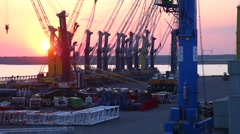 Sunrise at port of Rostock May 2016 Stock Footage